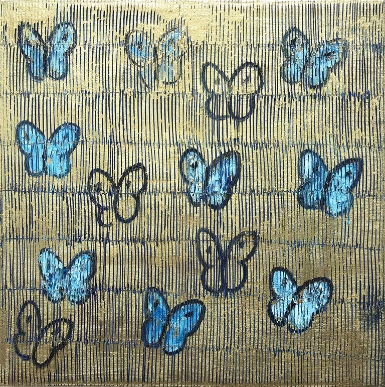 """Hunt Slonem Animal Painting - """"Night Flight"""" White and Blue Butterflies with Gold Background on Canvas"""
