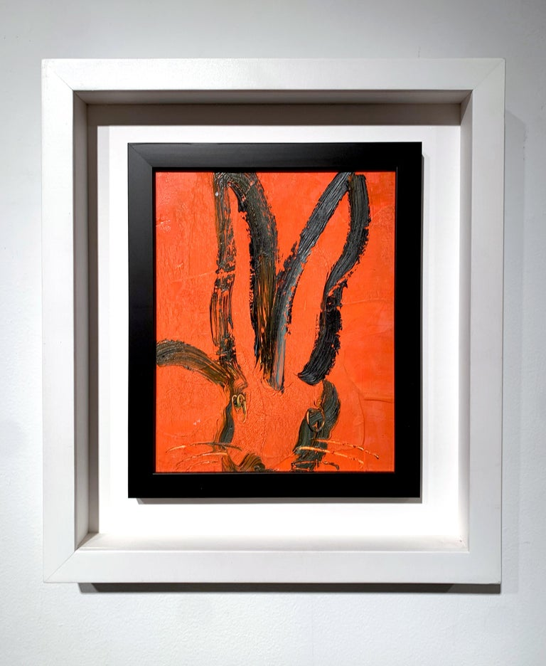 Orange Bunny - Painting by Hunt Slonem