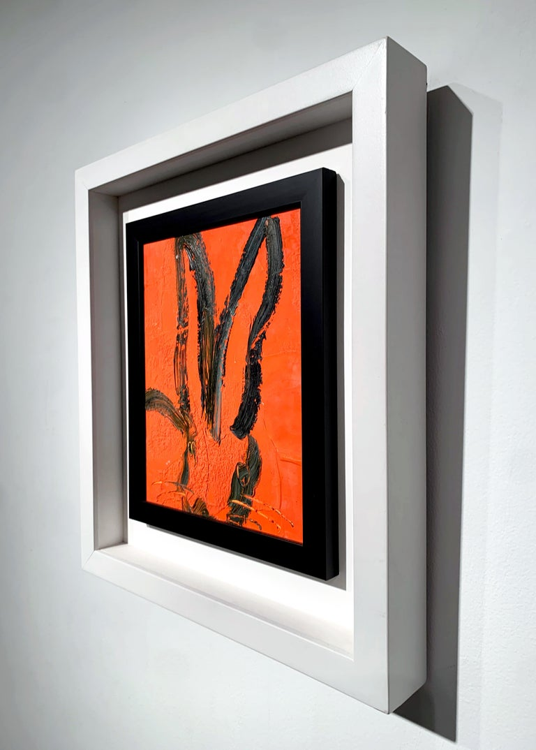 Orange Bunny - Contemporary Painting by Hunt Slonem