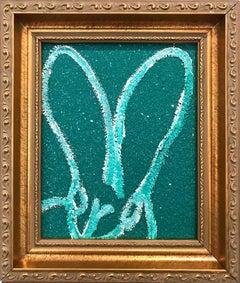 """Oz"" (Bunny on Green Diamond Dust) Oil Painting on Wood Panel"