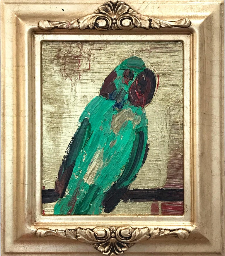 "Hunt Slonem Abstract Painting - ""Parrot"" (Green Parrot with Gold Background on Wood Panel)"