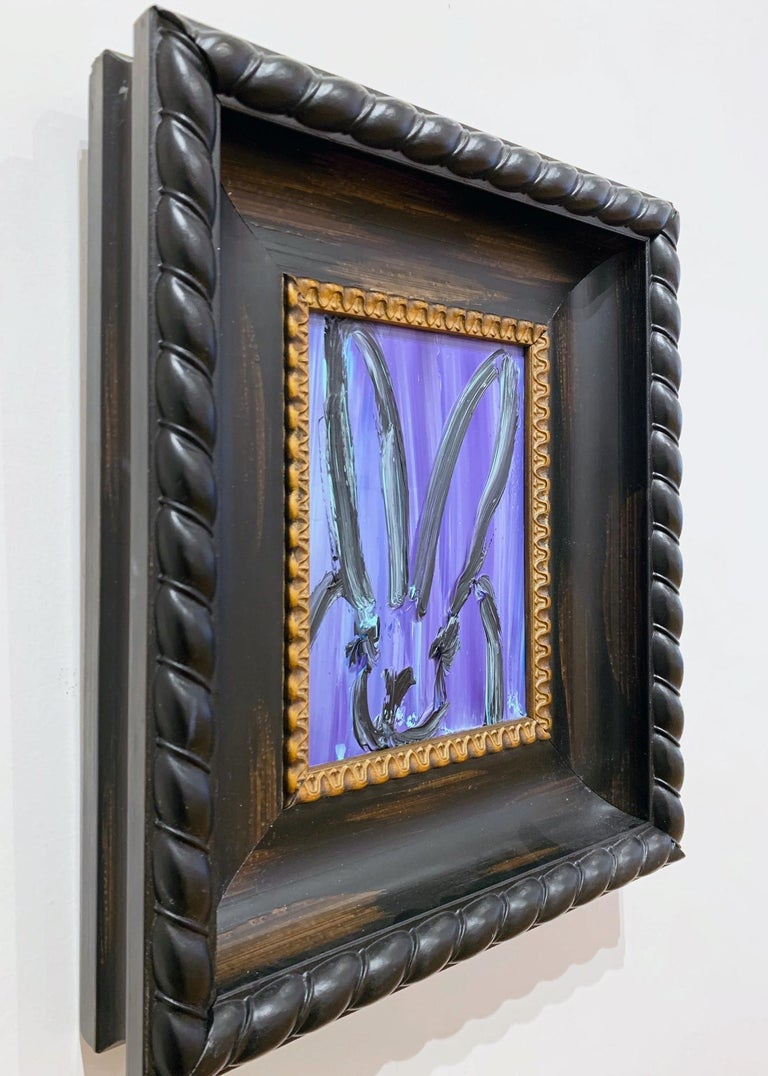 Petite Purple Brushstroke Bunny - Black Animal Painting by Hunt Slonem