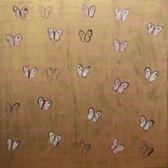"""Pink Ascension"" White and Pink Butterflies with Gold Background on Canvas"