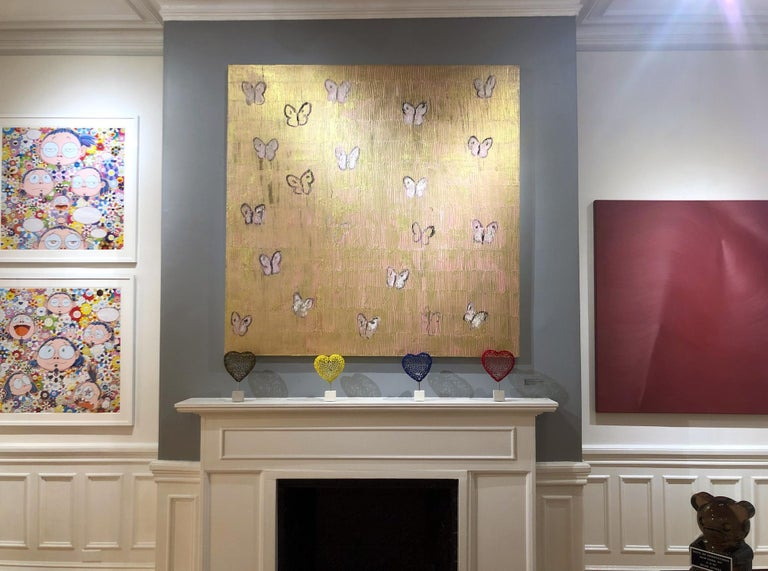 Pink & Gold Butterflies - Contemporary Painting by Hunt Slonem