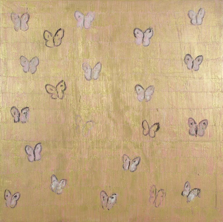 Pink & Gold Butterflies - Painting by Hunt Slonem