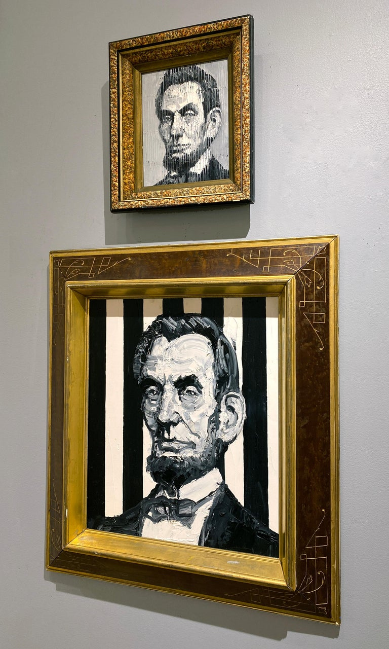President Abraham Lincoln - Brown Animal Painting by Hunt Slonem