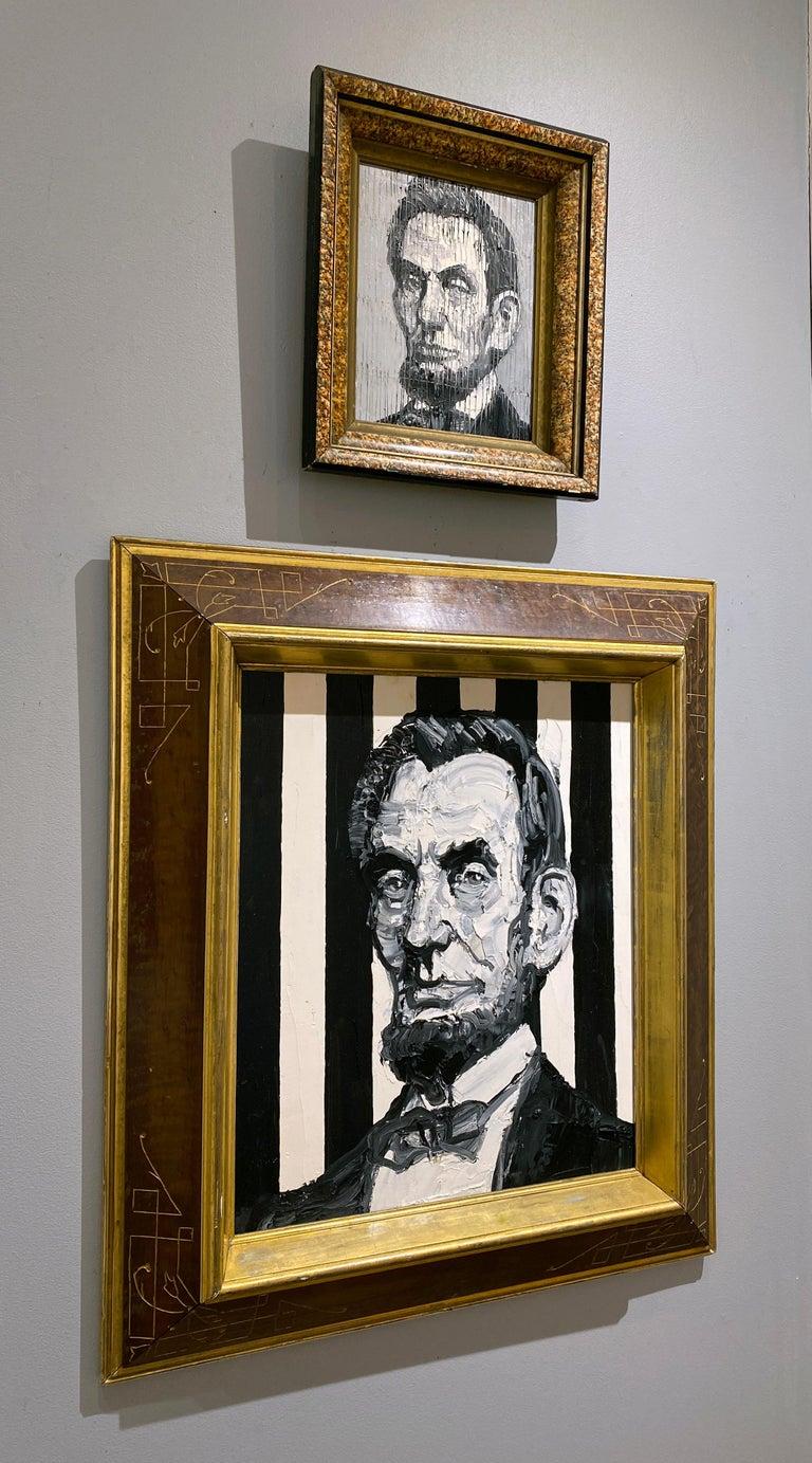 Artist:  Slonem, Hunt Title:  President Abraham Lincoln Date:  2019 Medium:  Oil on panel Unframed Dimensions:  20.5
