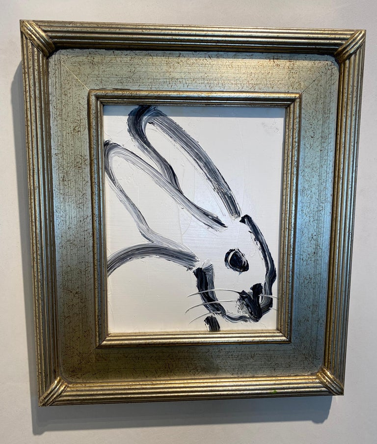 Profile- black and white gestural bunny by Neo- Expressionist Hunt Slonem - Neo-Expressionist Painting by Hunt Slonem