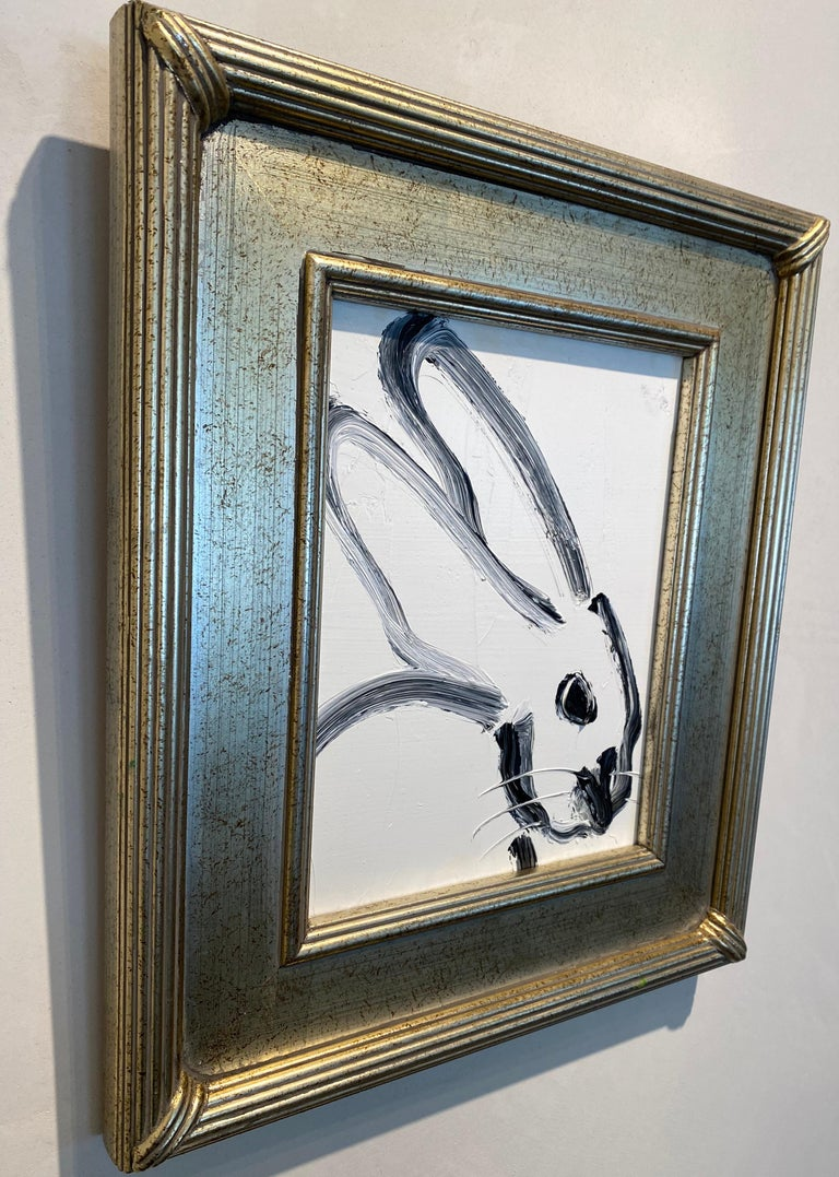 Painting size: 10 x 8 inches  Framed size: This white and black bunny demonstrates Hunt Slonem's  neo-expressionist style. Framed in a vintage frame.   These layered, and thickly painted smaller pieces exemplify his vivid and exuberant style and