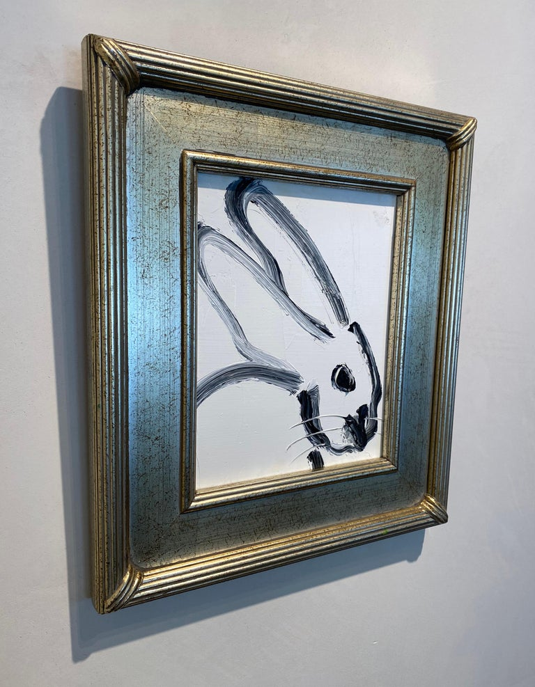 Profile- black and white gestural bunny by Neo- Expressionist Hunt Slonem For Sale 1