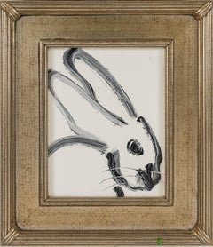 Profile- black and white gestural bunny by Neo- Expressionist Hunt Slonem