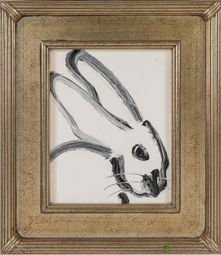 Profile- black and white gestural bunny by Neo- Expressionist Hunt Slonem - Painting by Hunt Slonem