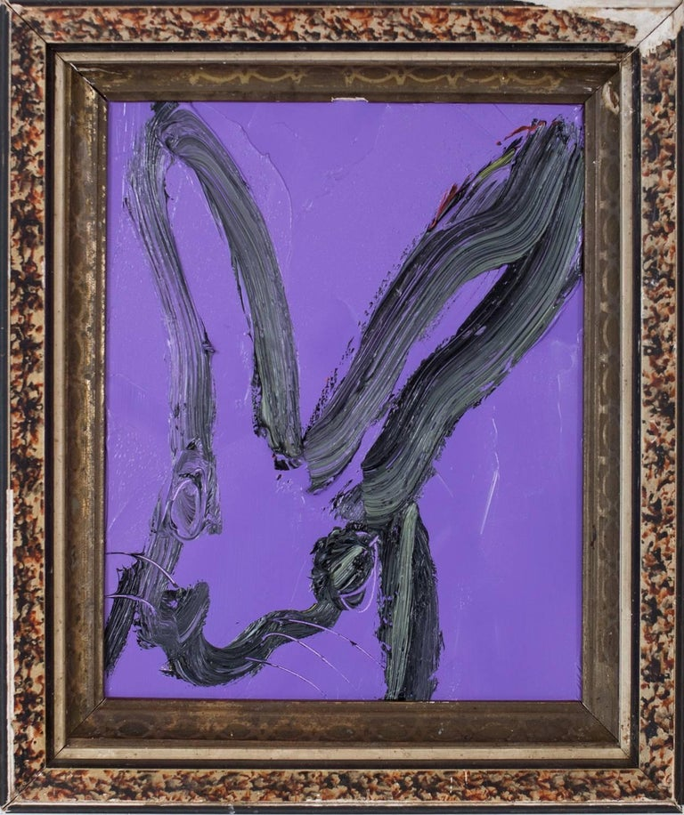 Hunt Slonem Animal Painting - Purple Bunny