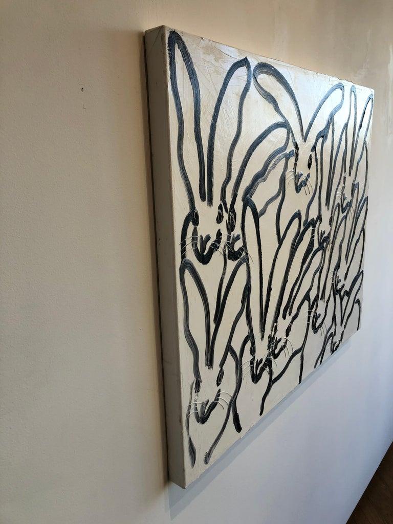 Rabbit Run - Gray Animal Painting by Hunt Slonem