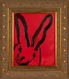 Red- framed gestural oil painting of bunny by Hunt Slonem