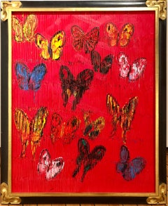 Red, Multicolored on Red, Textured Original Oil Painting of Butterflies