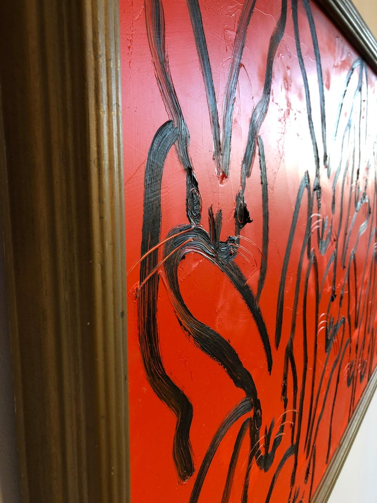 Red Rabbit - Contemporary Painting by Hunt Slonem