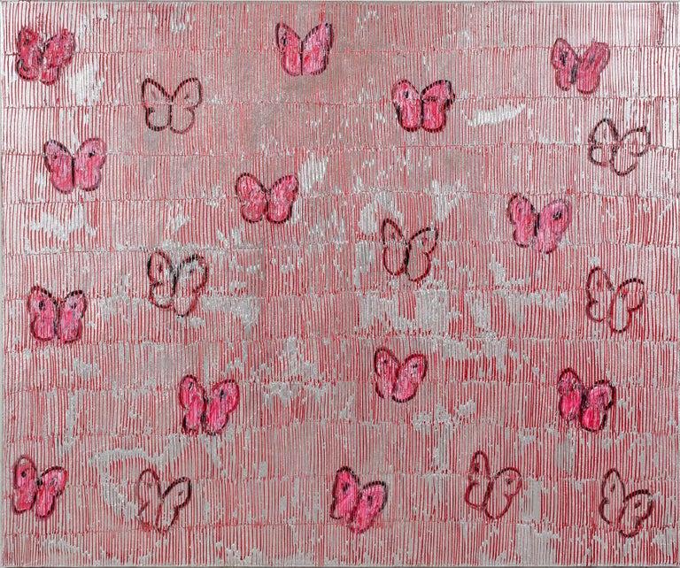 Hunt Slonem Animal Painting - Red & Silver Ascension