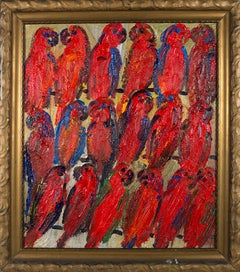 Red Tropical Birds in Three Rows, Antique Gold Frame, Oil Painting
