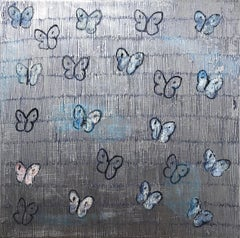 """Silverado"" White and Blue Butterflies with Silver Background Painting on Canvas"