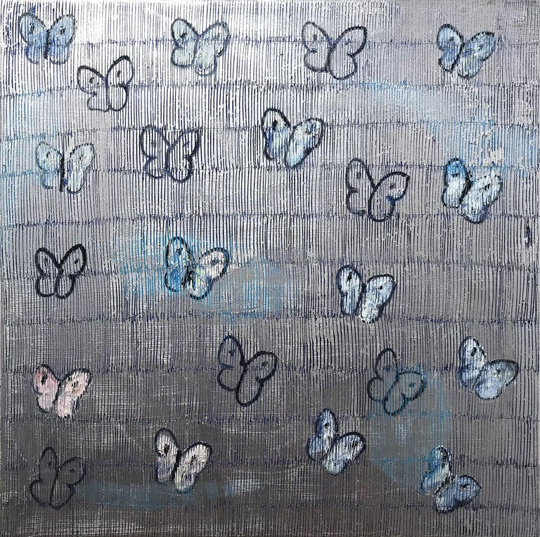"Hunt Slonem Abstract Painting - ""Silverado"" White and Blue Butterflies with Silver Background on Canvas"