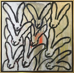"""""""Some Orange"""" (Black Bunnies on Gold Silver Background with Colorful accents)"""