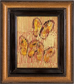 """Sulphurs"" (Red and Gold Butterflies on Golden Background Scoring) Oil on Wood"