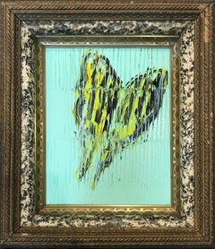 Swollowtail (Butterfly on Turquoise Background with Scoring) Oil on Wood Panel