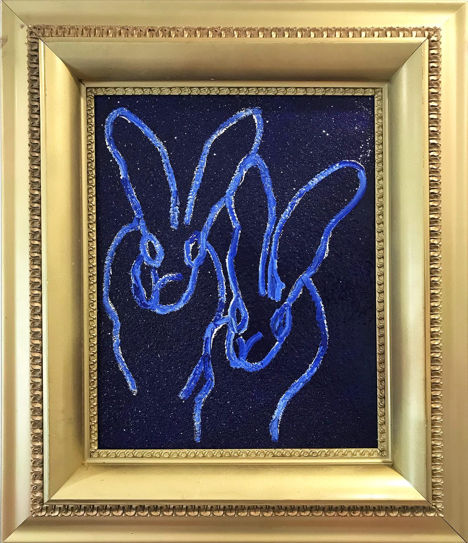 """""""Tanzania 2"""" (Diamond Dust Bunnies on Ultramarine Blue) Oil Paint on Wood Panel"""