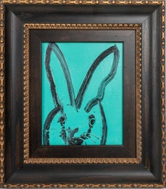 Teal- framed gestural oil painting of bunny by Hunt Slonem