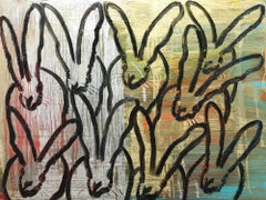 """""""The Dance"""" (Black Bunnies on Gold Silver Background with Multi Colored accents)"""