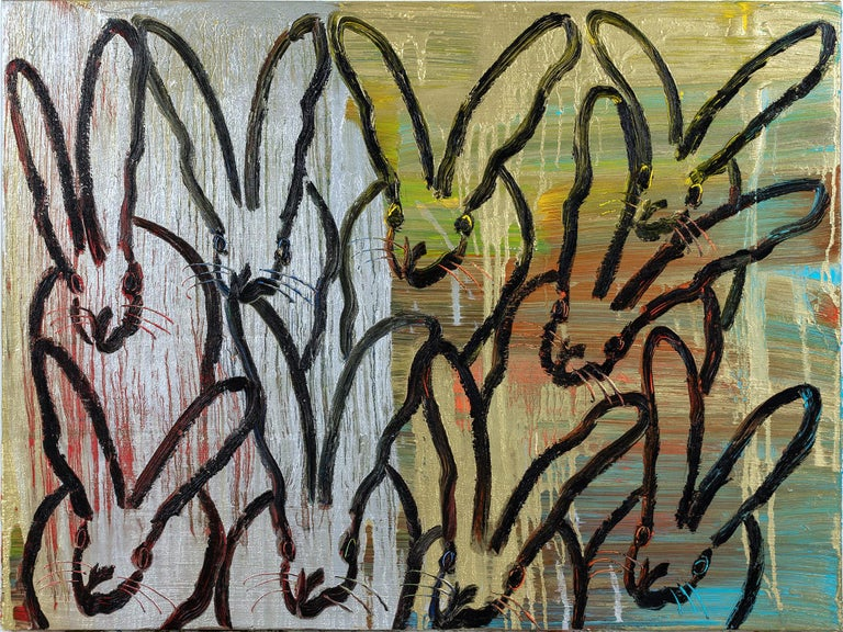 """Hunt Slonem Animal Painting - """"The Dance"""" (Black Bunnies on Gold Silver Background with Multi Colored accents)"""