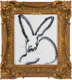 The Rabbit Hole- gestural white and black bunny painting in ornate frame