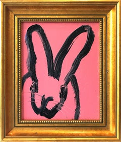 """Untitled"" (Black Bunny on Creamy Pink Background Oil Painting on Wood Panel)"