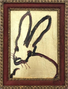"""""""Untitled"""" (Black Bunny on Gold with Ruby Red accents) Oil Paint on Wood Panel"""