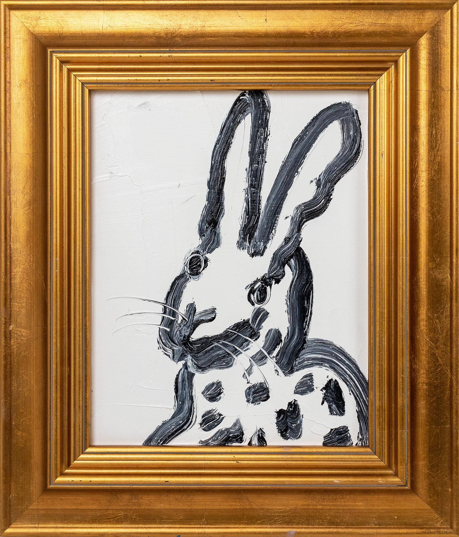 """""""Untitled"""" (Black Bunny on White Background) Oil Painting on Wood Panel"""