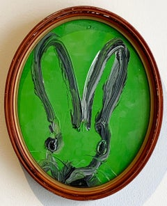 Untitled (black outline on green oval bunny portrait)