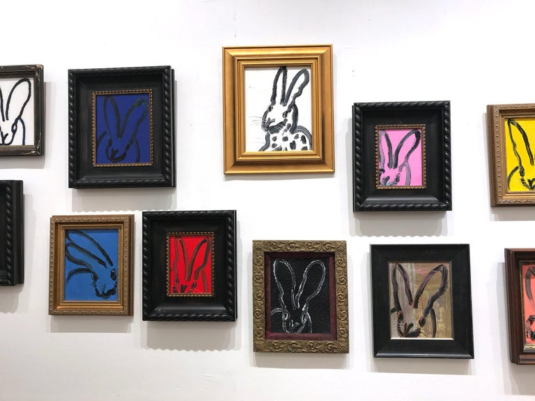 Untitled (Black Outlined Bunny on Midnight Blue Background) Oil on Wood Panel For Sale 7