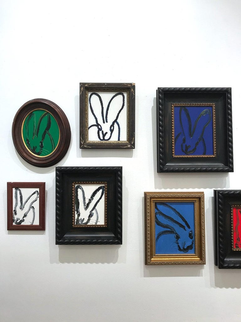 Untitled (Black Outlined Bunny on Midnight Blue Background) Oil on Wood Panel For Sale 8