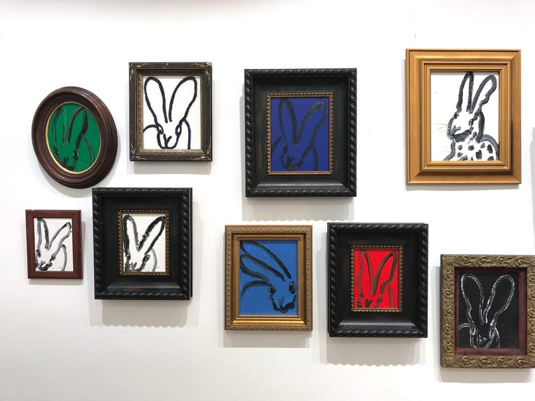 Untitled (Black Outlined Bunny on Midnight Blue Background) Oil on Wood Panel For Sale 9