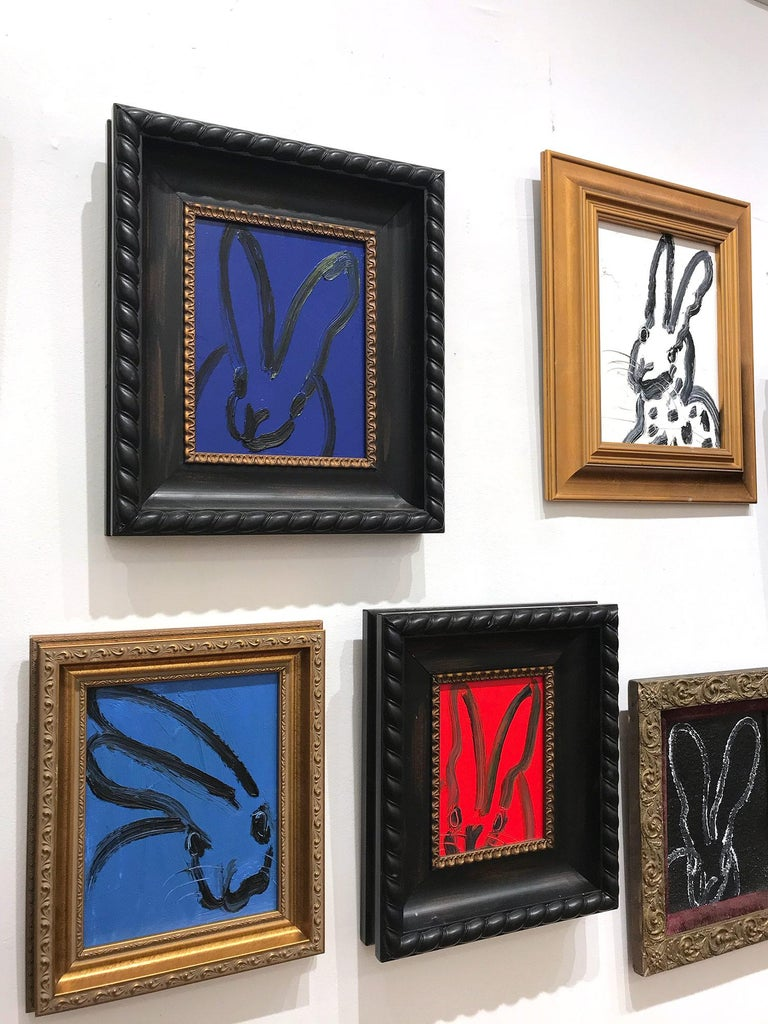 Untitled (Black Outlined Bunny on Midnight Blue Background) Oil on Wood Panel For Sale 10