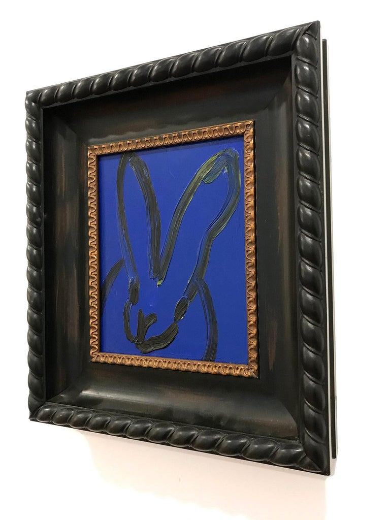 Untitled (Black Outlined Bunny on Midnight Blue Background) Oil on Wood Panel - Painting by Hunt Slonem