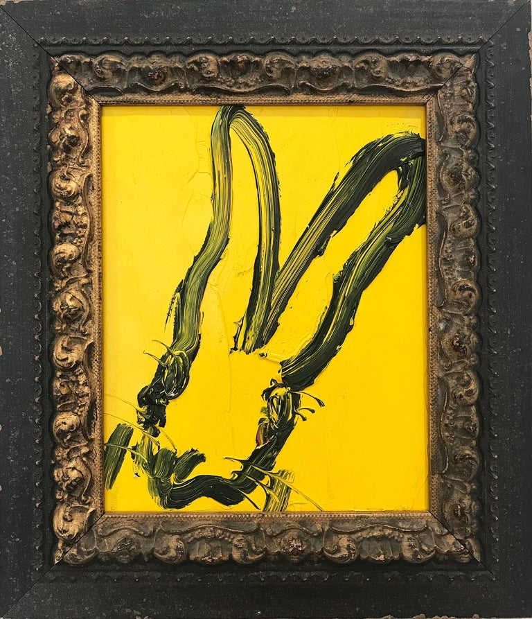 """Hunt Slonem Abstract Painting - """"Untitled"""" (Black Outlined Bunny on Yellow) Oil Painting on Wood Panel"""
