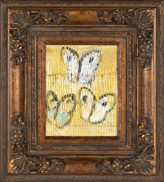 """Untitled"" (Black, Pink, Blue Butterflies on Metallic Gold with Yellow Scoring)"