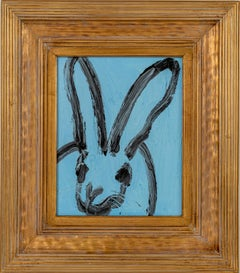 Untitled Blue Bunny- gestural bunny painting by Hunt Slonem