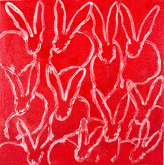Untitled Bunnies in red and white with diamond dust by painter Hunt Slonem
