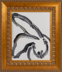 Whitneu- black and white gestural rabbit oil painting