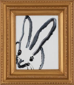 Untitled  Bunny (EA01933)-black and white gestural rabbit oil painting