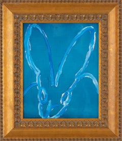 Untitled  Bunny -framed blue high gloss pearl oil painting with resin