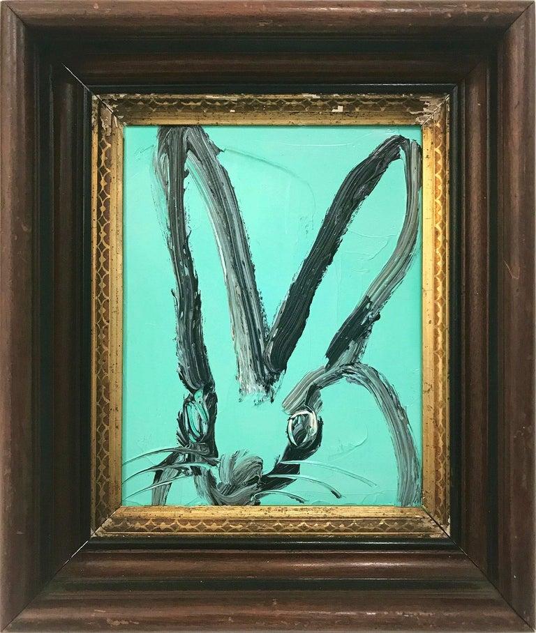 """Hunt Slonem Animal Painting - """"Untitled"""" (Bunny on Aqua Blue) Oil Painting on Wood Panel"""